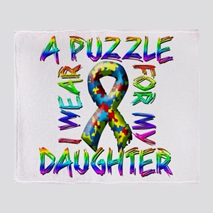 I Wear A Puzzle for my Daught Throw Blanket