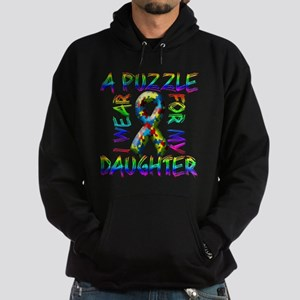 I Wear A Puzzle for my Daught Hoodie (dark)