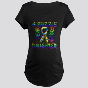 I Wear A Puzzle for my Daught Maternity Dark T-Shi