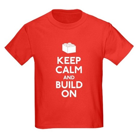 Keep Calm and Build On Kids Dark T-Shirt