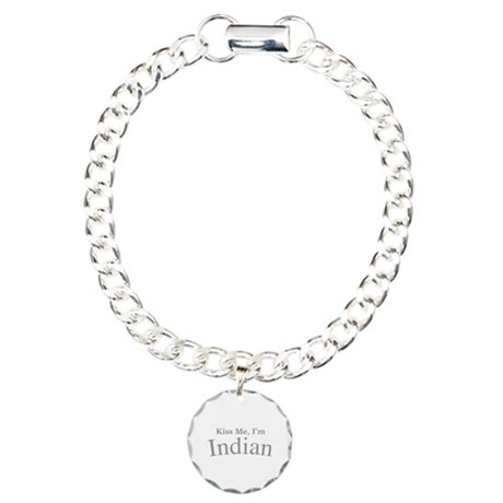 Kiss Me, I'm Indian Charm Bracelet, One Charm