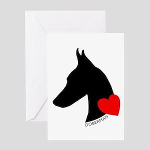 Doberman with Heart Silhouett Greeting Card