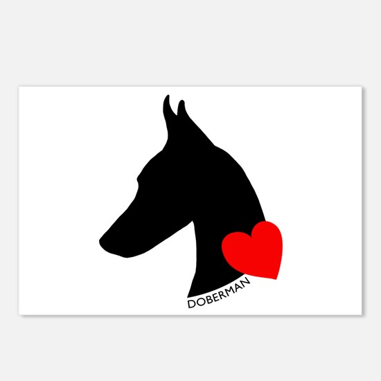 Doberman with Heart Silhouett Postcards (Package o