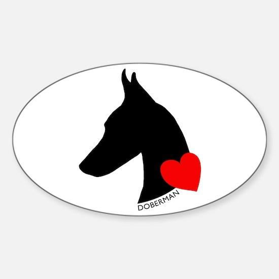Doberman with Heart Silhouett Sticker (Oval)