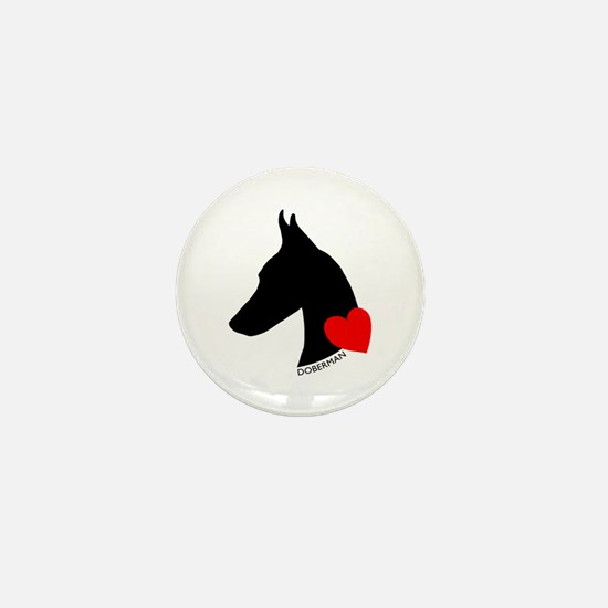 Doberman with Heart Silhouett Mini Button