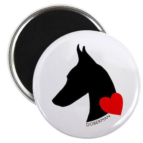 "Doberman with Heart Silhouett 2.25"" Magnet (100 pa"