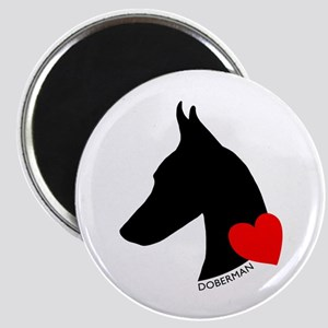Doberman with Heart Silhouett Magnet