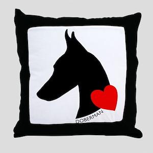 Doberman with Heart Silhouett Throw Pillow