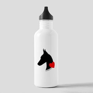 Doberman with Heart Silhouett Stainless Water Bott