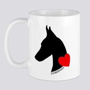 Doberman with Heart Silhouett Mug