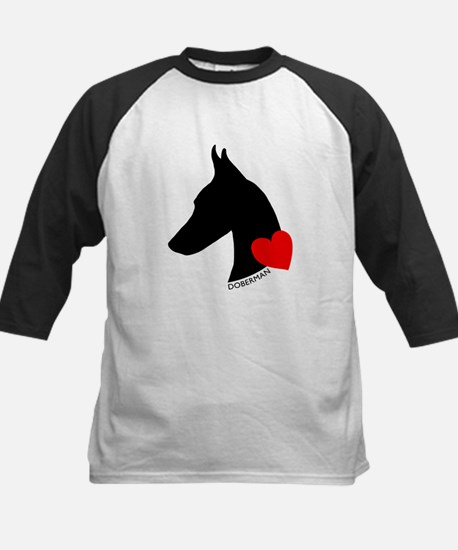 Doberman with Heart Silhouett Kids Baseball Jersey