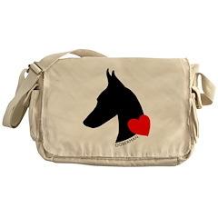 Doberman with Heart Silhouett Messenger Bag