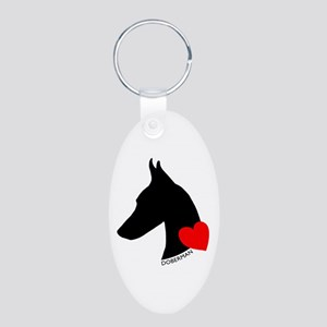 Doberman with Heart Silhouett Aluminum Oval Keycha