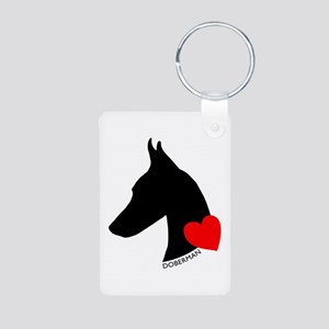 Doberman with Heart Silhouett Aluminum Photo Keych