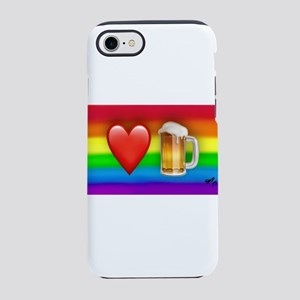 LOVE BEER gay rainbow art iPhone 7 Tough Case