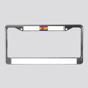 LOVE BEER gay rainbow art License Plate Frame