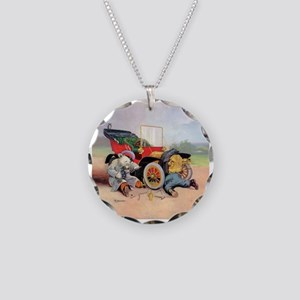 Roosevelt Bear Mechanic Necklace Circle Charm