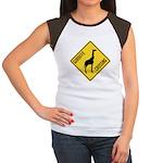 Giraffe Crossing Sign Women's Cap Sleeve T-Shirt