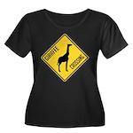 Giraffe Crossing Sign Women's Plus Size Scoop Neck
