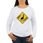 Giraffe Crossing Sign Women's Long Sleeve T-Shirt