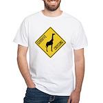 Giraffe Crossing Sign White T-Shirt