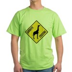 Giraffe Crossing Sign Green T-Shirt