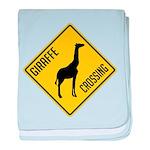 Giraffe Crossing Sign baby blanket
