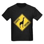 Giraffe Crossing Sign Kids Dark T-Shirt