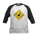 Giraffe Crossing Sign Kids Baseball Jersey