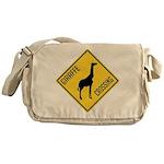 Giraffe Crossing Sign Messenger Bag