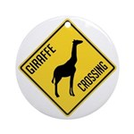 Giraffe Crossing Sign Ornament (Round)