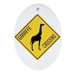 Giraffe Crossing Sign Ornament (Oval)