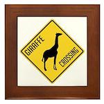 Giraffe Crossing Sign Framed Tile