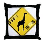 Giraffe Crossing Sign Throw Pillow