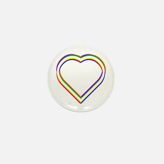 Rainbow Heart Mini Button