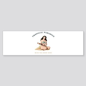Tropical Paradise Island Girl 2 Sticker (Bumper)