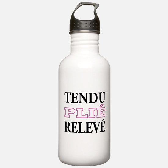 Tendu, Plie, Releve (Pink Design) Water Bottle
