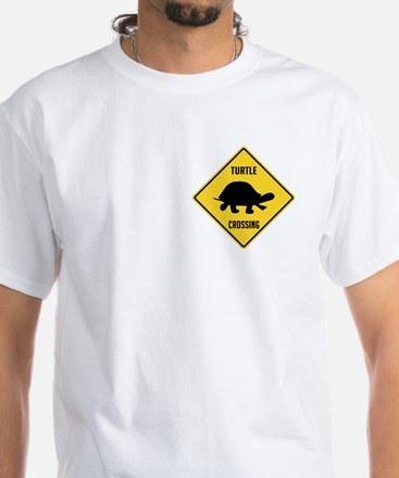 Turtle Crossing Sign White T-Shirt