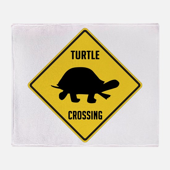 Turtle Crossing Sign Throw Blanket