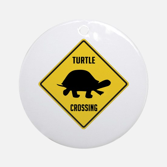 Turtle Crossing Sign Ornament (Round)