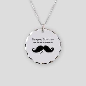 Emercency Moustache Necklace Circle Charm