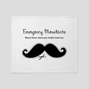 Emercency Moustache Throw Blanket