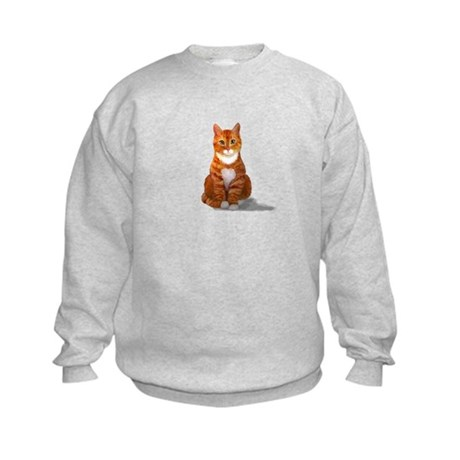 Orange Tabby Cat Kids Sweatshirt