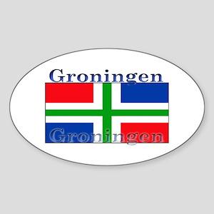 Groningen Gronings Flag Oval Sticker