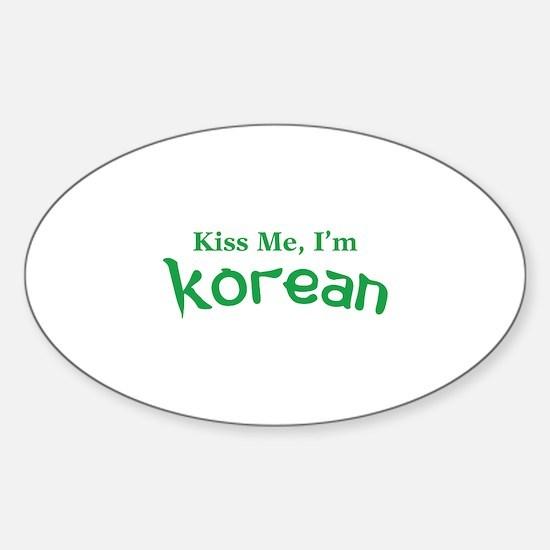Kiss Me, I'm Korean Sticker (Oval)