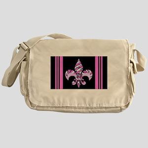Fleur de lis Zebra Pink & Bla Messenger Bag