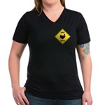 Turkey Crossing Sign Women's V-Neck Dark T-Shirt