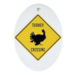 Turkey Crossing Sign Ornament (Oval)