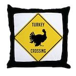 Turkey Crossing Sign Throw Pillow