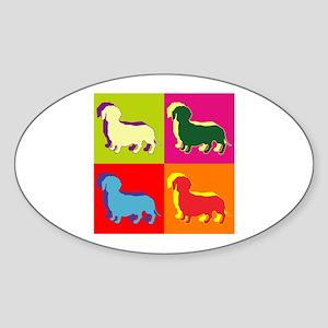 Dachshund Silhouette Pop Art Sticker (Oval)